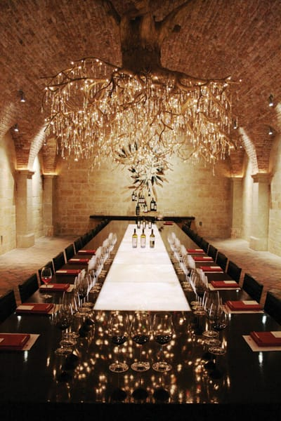A chandelier in the Hall wine caves was made by Daniel Lipski with 1,468 Swarovski crystals.