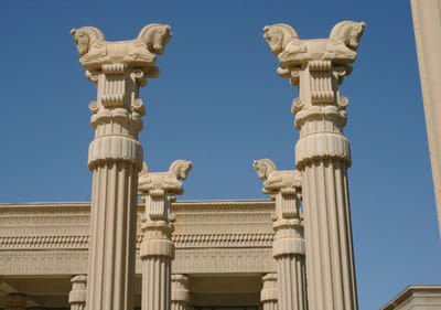 Sixteen 70-foot stone columns greet visitors to Darioush Winery.