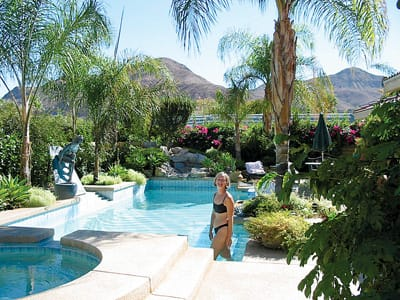 The back yard of Marten Plante's Palm Desert home has a pool, spa, waterfall, and barbecue.