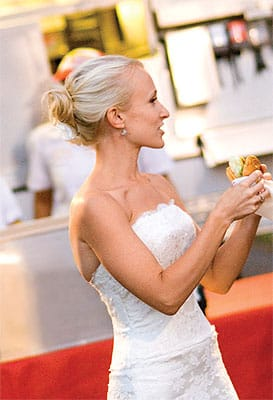 Everyone loves an elegant bride who's not afraid to bite into a juicy cheeseburger. Fatburger can cater your casual wedding, rehearsal dinner, or post-wedding lunch. Or have them come feed everyone at your late-night after-party. They'll set up the Fatburger tent and cook on site. The $1,500 minimum does not include equipment rental. Call (888) YUMMY-FB.