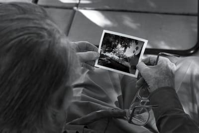 Shulman examines a test Polaroid