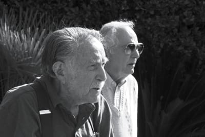 Architect Donald Wexler drops by at the Dinah Shore House to say hello