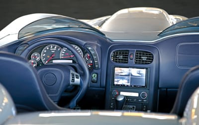 """Keeping the lines clean, the C16 Speedster has a touch-sensitive""""DSpot"""" in place of door handles and three cameras — whose images appear on navigation system — in place of rearview and side mirrors."""