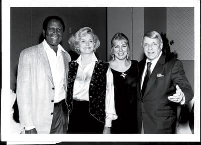 Sidney Poitier, Barbara Sinatra, Joanna Shimkus, and Frank Sinatra