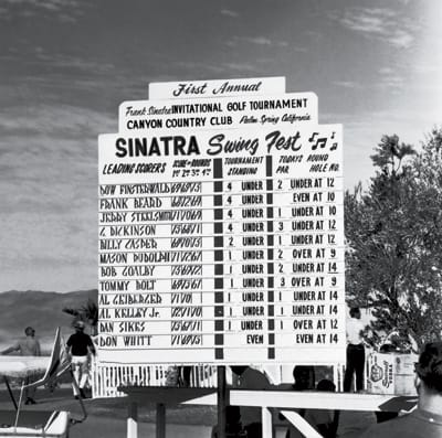 The scoreboard for the first Sinatra Swing Fest;