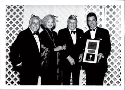Tony Bennett and Barbara and Frank Sinatra congratulate Joe Mantegna