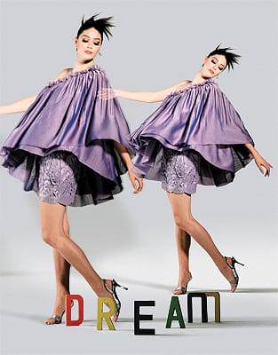 """Lavender silk one-shoulder camisole and cape top with jeweled neckline and lavender lace shorts. Silver """"Hollywood"""" vinyl/crystal sling shoes by Stuart Weitzman from Robert's Fine Shoes on El Paseo. Norman Covan sapphire drop earrings from Frasca Jewelers."""