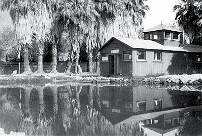 The second bathhouse at the Indian hot springs was built in 1914. Adjacent to farmer-instructor Adrian Maxwell's home, it faced Indian Avenue.