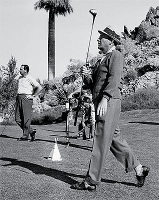 Singer Bing Crosby was among the golf-obsessed celebrities who added luster to the ascent of spectator and participatory sports in the desert.