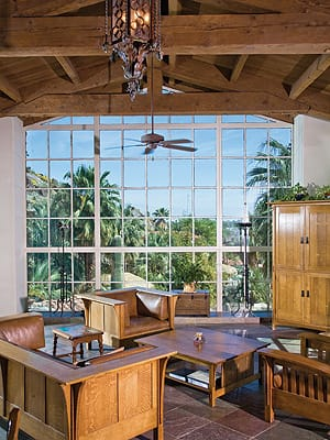 The original casement windows in the main house offer expansive views in three directions.