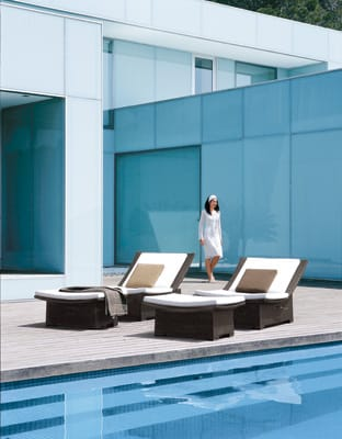 Pair of Sun Bathers - In keeping with global spa and wellness trends comes the Spa Collection by Dedon designed by Richard Frinier. Signature Dedon fiber is hand-woven over a powder-coated aluminum frame in bronze on oversized pieces with an ascending shape and luxurious feel. Shown here are the Spa Recliner XXL, featuring an infinite-recline hidden mechanism ($3,076), and Spa Ottoman XXL ($1,235). (800) 245-2687, www.janusetcie.com.