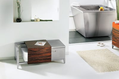 Hide and Seat - Behold the bath of the future and its first fixture: Julien's throne-be-gone stainless steel bench toilet  ($11,475) by Troy Adams Design. A teak-wood panel cleverly slides to either conceal or reveal the fixture. Featuring a  convenient storage drawer, it doubles as a bench when not in use. Pacific Sales, 34295 Monterey Ave., Rancho Mirage,  760-770-5839.