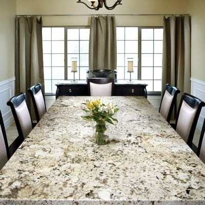 Take it for Granite - If you can't find a dining table to suit your taste, go custom. Arizona Tile created this tabletop of Amarillo Gold Granite. 72700 Dinah Shore Drive, Palm Desert; 321-2005, www.arizonatile.com.