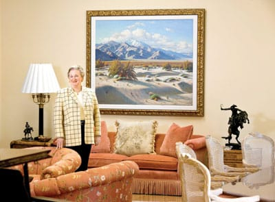 Paul Grimm's Front Door to San Jacinto takes a place of honor in Jackie Autry's living room.