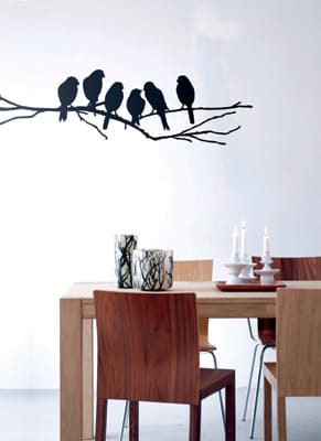 Design dreams come home to roost with avian wall decals from Ferm Living. Low-tack and easy to install, these Love Birds give your home winged elegance, with no messy cages to clean. Love Birds No. 21, $96, www.fermlivingshop.us.