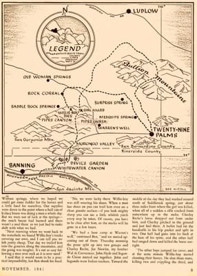 The route taken by Willie Boy, from The Desert Magazine, November 1941.