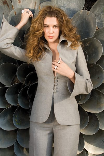 Casino Royale - Gray flannel pantsuit by Lloyd Klein Couture of Los Angeles. Diamond, onyx, platinum, and gold rings from Gail Jewelers in The Gardens on El Paseo.