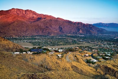 The hike from Southridge Drive and Highway 111 in Palm Springs takes you up the west end of the Santa Rosa Mountains above the exclusive houses beyond the gates on Southridge. They include the former abodes of William Holden, Steve McQueen, and David Janssen, as well as the flying sauceresque house where Bob Hope entertained large crowds (a particularly popular postcard image when the roof was copper). But the real view is west and north toward the San Jacinto and San Gorgonio mountains and the windmill-filled pass between them. Though Araby Trail itself is less than 2 miles in distance, it connects with a vast system of trails that lead you as far east as La Quinta.