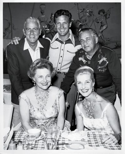 Clockwise: Buddy Adler, Robert Stack, Mervyn LeRoy, Mrs. LeRoy (Kitty Spiegel) and Mrs. Adler (Anita Louise).