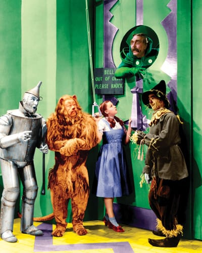 Jack Haley, Bert Lahr, Judy Garland, Frank Morgan, and Ray Bolger in the Emerald City.