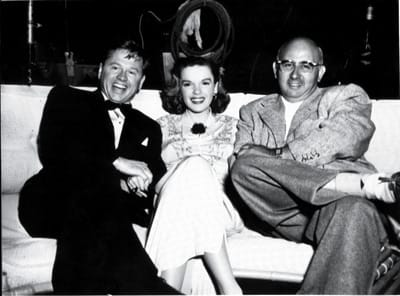 Mickey Rooney, Judy Garland, and Norman Taurog, 1948, on the set of Words and Music.