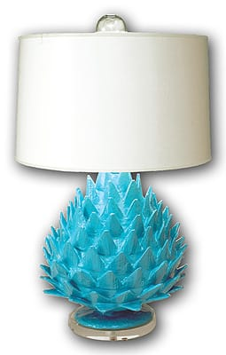 Handmade from recycled materials by artisans in Haiti, Stray Dog Designs' Artichoke Lamp sheds light on the fact that green design can take any form under the sun. The sea blue hue lights up interiors with its kicky oddity, and the designers' choice to use paints low in volatile organic compounds earns it extra points for being both eco-conscious and eclectically chic. $595. www.straydogdesigns.com.