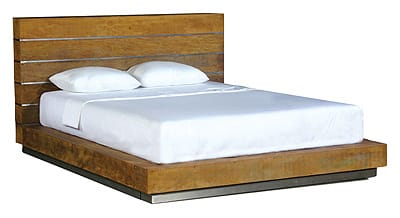 Effortless design meets rustic purity in Environment Furniture's Beam Bed. The unadorned wood (recycled, responsibly harvested Brazilian peroba and mahogany) reflects the company's commitment to leaving both the smallest environmental footprint and the biggest design impression possible. The rosy tint of the peroba wood captures the spirit of the derelict Brazilian barns and abandoned dwellings from which it was salvaged, and the environmental responsibility of giving a second life to what came before is ecologically priceless. $3,995 (queen size). Interior Illusions, 830 N. Palm Canyon Drive, Palm Springs. 325-0300.