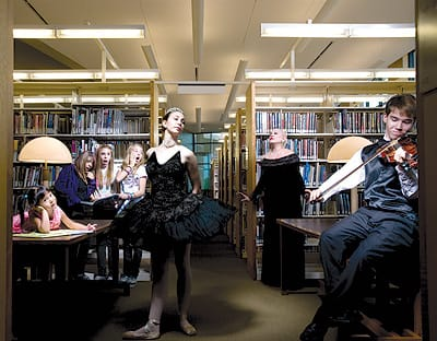 From left, models Roxanne Hermann-McNamara, Love Nova, Chloe Folgerman, and Haley Birch, and performers Faith Keeler, Rose Kingsley, and Leo Bondurich appear courtesy of The Desert Dance Academy of Palm Springs. Location: Rancho Mirage Public Library.