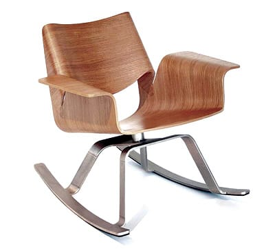 The Buttercup Rocker from Blu Dot puts a contempo-rary spin on the traditional rocking chair. The formed wood and thin profile resemble delicate origami — but in a durable package. Available in rift-sawn white oak, walnut, or graphite and oak, $849. www.bludot.com