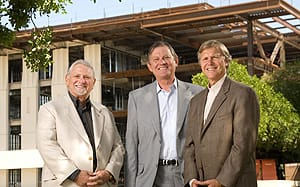 Rancho Mirage Mayor Ron Meepos, with G. Aubrey Serfling, President / Chief Executive Officer and Michael Landes, Foundation President, of the Eisenhower Medical Center inspect the soon to open Walter and Leonore Annenberg Pavilion construction site. The new Pavilion will be the only hospital in the Palm Springs Valley to meet the latest California earthquake standards when it opens next year.