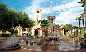 The Fountain of Life in Town Square is the city's gathering center, attracting more than 250,000 visitors annually.
