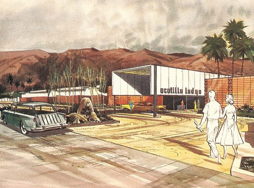 William Krisel's rendering for Ocotillo Lodge, 1957.