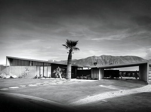 Royal Desert Palms (Twin Palms), 1957.  © J. Paul Getty trust. Used with permission. Julius Shulman photography archive research library at the Getty Research Institute.