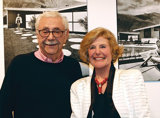 William and Corinne Krisel in front of two famous Julius Shulman photographs (in which Corinne was the model) at the opening of an exhibition of Krisel's work at SPF:a gallery at MODAA in Culver City last October.