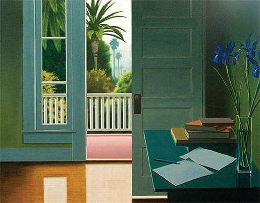 Untitled with Blue Iris and Books, oil on canvas/ Courtesy IMAGO Galleries