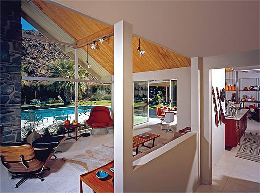 """Joan and Gary Gand, whose primary residence is an architecturally significant house in Chicago, spend time in their midcentury modern Palm Springs home every month. The """"Swiss Miss"""" house, built in 1955, was designed by Charles Dubois."""