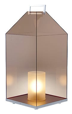 Borrowing its clean lines and lofty dimensions from architectural principles, Ligne Roset's Fes Lantern piques interest. Designed by Didier Gomez using smoked Plexiglas and gleaming chrome accents, the lantern stands over two feet high and almost a foot square. Dial down the integrated dimmer to add ambiance; raise it to make a shining statement. $1,195. Ligne Roset, 69930 Highway 111, Rancho Mirage, 328-9900.