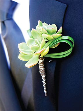 Succulents look right at home on his lapel in a warm desert climate (this one by Artisan Event Floral and Décor).