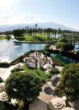 Desert Springs J.W. Marriott Resort & Spa's sparkling lake offers the option of arriving at your ceremony by boat.