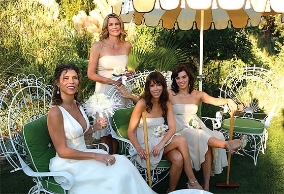 The croquet lawn of Parker Palm Springs is a favorite photo stop for bridal parties.