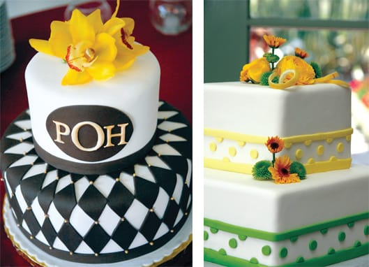 These two-layer cakes by Pastry Swan of Palm Desert and Cathedral City are the perfect size for small affairs serving 35 to 55 guests. Dramatic, geometric patterns in custom-colored fondant icing are especially eye-catching in person.