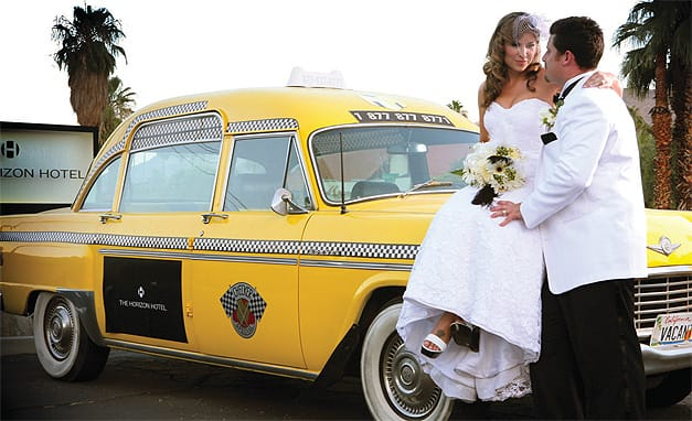 The Horizon Hotel's yellow taxicab added retro flair to the couple's photos.