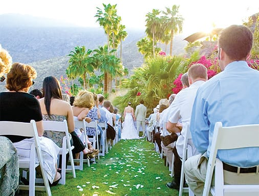 The O'Donnell House was the first location the couple visited in their venue search, and they were immediately taken with its history, mountain backdrop, and sweeping views of Palm Springs.