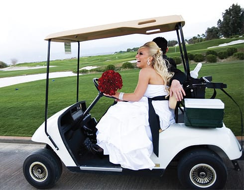 The couple hopped in a golf cart for fun and photo opportunities.