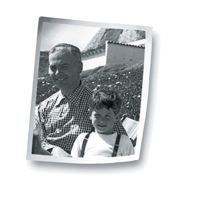 Christopher Georgesco at age 5 with his father at the beach in Malibu.