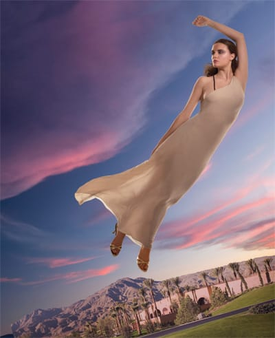 Beige and white double chiffon asymmetrical gown.