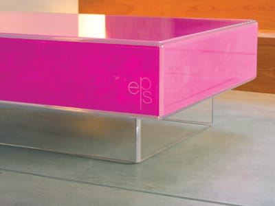 Color-conscious collectors flock to Elizabeth Paige Smith's witty takes on day-to-day classics. She turns the simple coffee table on its ear by encapsulating organic powder pigments inside acrylic by means of good ol' static electricity. The result: the Hot Pink Blow Coffee Table. Each pattern is random and unique. $9,800. 