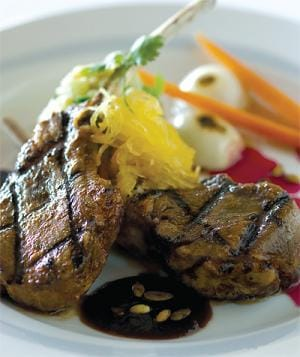Achiote Spiced Lamb Chops with Prickly Pear Jus, Kernel-Wheat Risotto and Roasted Chayote Squash.