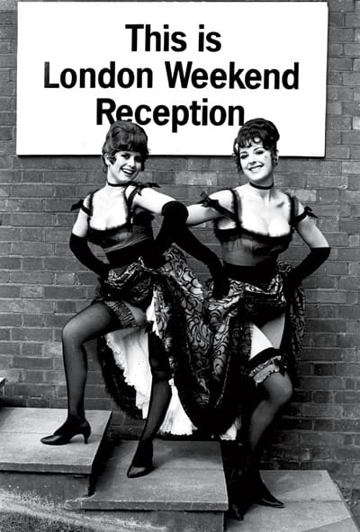 Elizabeth Dreyfuss and Dela Zimmer in costume for the British TV series Hark at Barker, Elizabeth at age 15 in her London debut as Little Red Riding Hood, and Elizabeth at 17 in West Side Story.