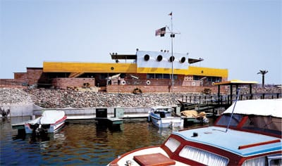 View of the original building from the marina